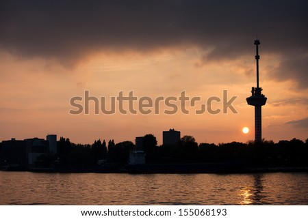 River view of the Rotterdam skyline at sunset, on the right Euromast Tower, Netherlands, South Holland province. - stock photo