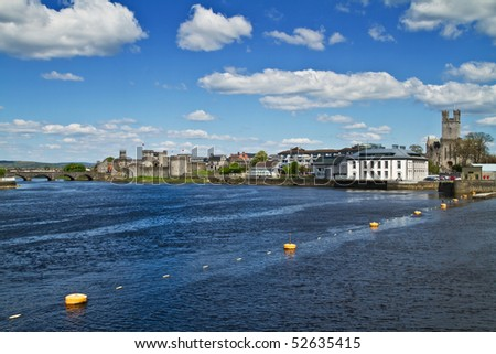 River view scenery in Limerick - Ireland - stock photo