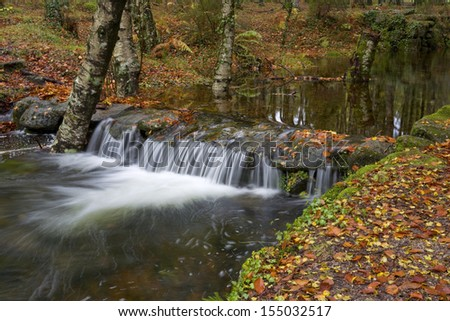 river waterfall in the portuguese national park of Geres, in the north of the country - stock photo
