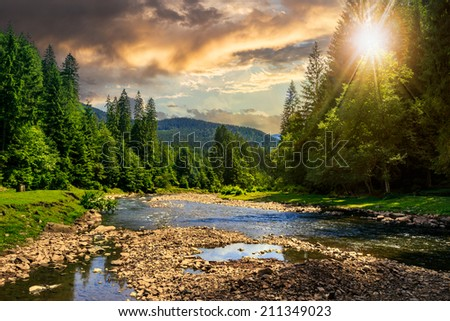 river with stones  in the forest near the mountain foot at sunset - stock photo