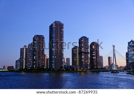Rivercity 21 at dusk in Tokyo - stock photo