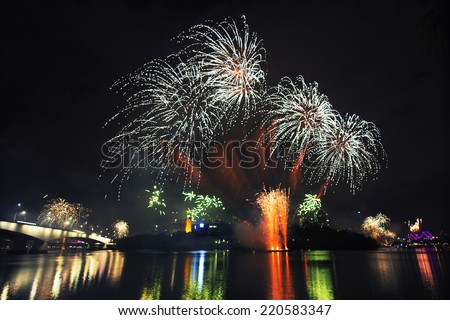 Riverfire festival fireworks in 2014 at Brisbane City, Queensland, Australia - stock photo