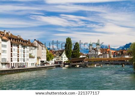 Riverfront in Lucerne, Switzerland - stock photo