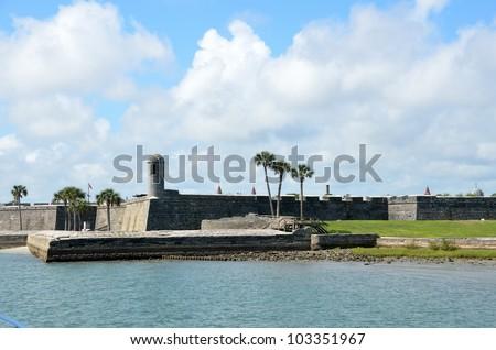 Riverfront view of the historic Castillo de San Marcos St. Augustine, Florida. - stock photo
