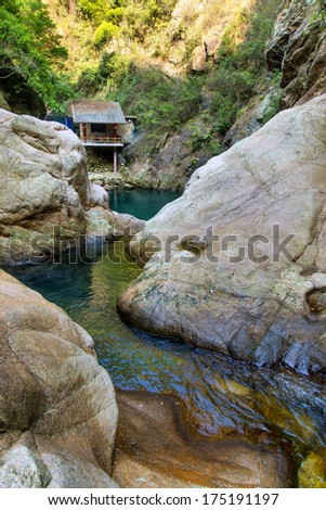 Rivers huts - stock photo