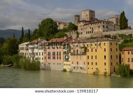 Riverscape of Bassano del Grappa, Vicenza, Italy - stock photo