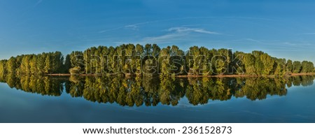 Riverside forest panorama - stock photo