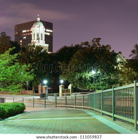 Riverwalk in Downtown Augusta, Georgia. The city is the second most populous in the state with nearly 200,000 residents. - stock photo
