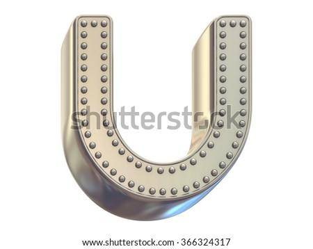 riveted metal font - stock photo