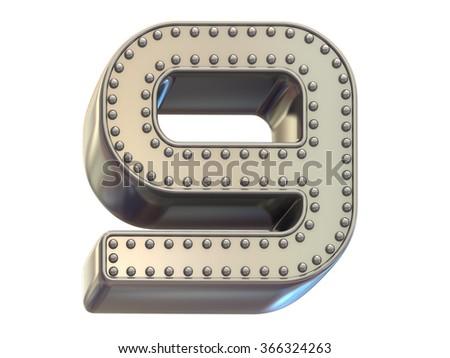riveted metal number nine font - stock photo