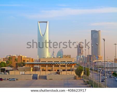 RIYADH - FEBRUARY 29: Riyadh downtown at the evening on February 29, 2016 in Riyadh, Saudi Arabia. - stock photo
