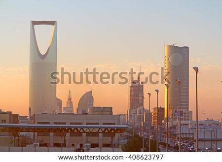 RIYADH - MARCH 01: Early morning in Riyadh downtown on March 01, 2016 in Riyadh, Saudi Arabia.  - stock photo