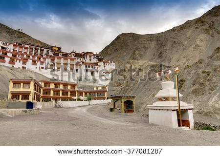 Rizong monastery with view of Himalayan mountians and blue sky in background, it is a famous Buddhist temple in,Leh, Ladakh, Jammu and Kashmir, India. - stock photo