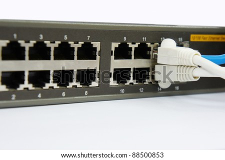 rj45 cable port with router - stock photo