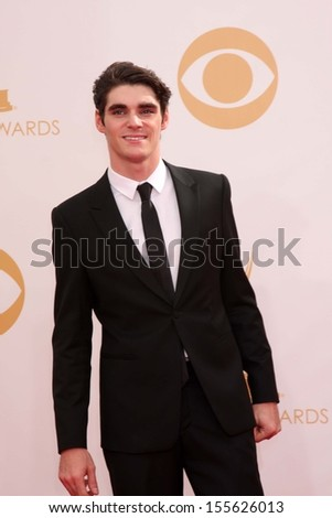 RJ Mitte at the 65th Annual Primetime Emmy Awards Arrivals, Nokia Theater, Los Angeles, CA 09-22-13 - stock photo