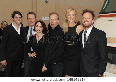 "RJ Mitte, Bryan Cranston, Laura Fraser, Bob Odenkirk, Anna Gunn and Aaron Paul at the ""Breaking Bad"" Special Premiere Event, Sony Studios, Culver City, CA 07-24-13 - stock photo"