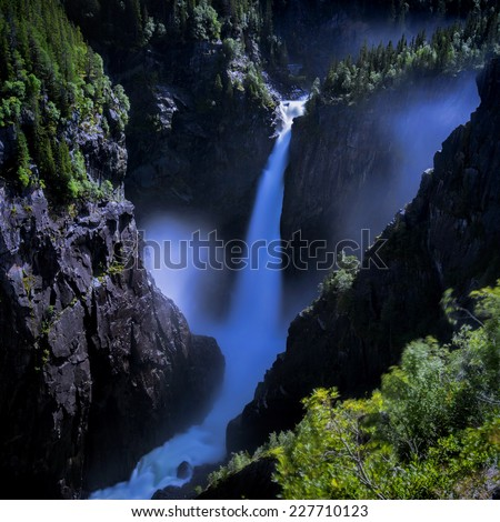 Rjukanfossen waterfall in Norway seen from above - stock photo