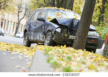 road accident car crash on an city road highway - stock photo