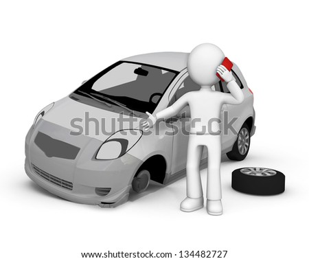Road accident. 3d image isolated on white background. - stock photo