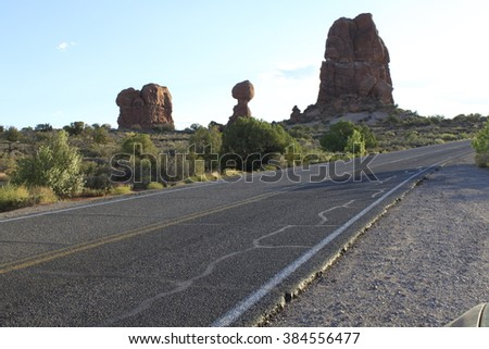 Road and Balanced Rock, Arches National Park - stock photo