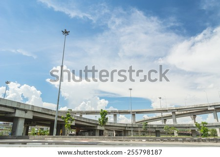 Road and express way on blue sky background. Road and express way. - stock photo