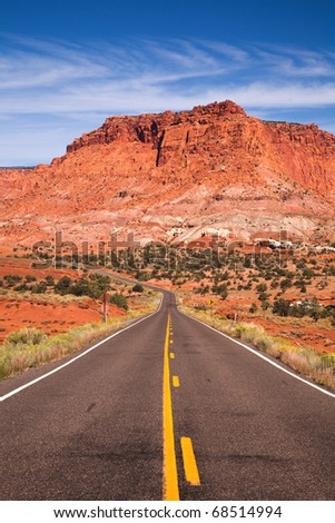 Road and rocks near Capitol Reef National Park, USA - stock photo