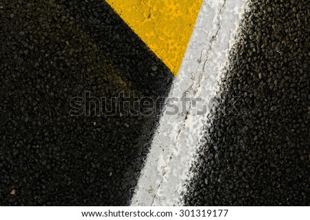 Road asphalt texture with separation lines / black asphalt track texture background / Asphalt as abstract background or backdrop - stock photo