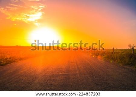 Road at dusk - stock photo