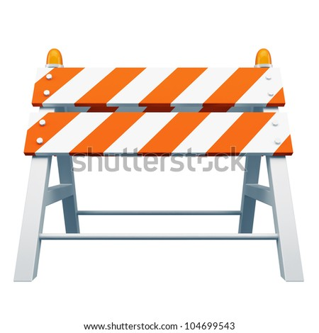 Road barrier isolated on white background - stock photo