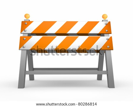 Road barrier - isolated on white background - stock photo