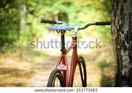 road bicycle on the bike path - selective focus. Retro shot - stock photo