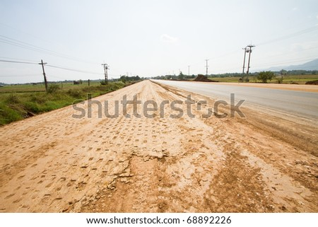 Road Building in Thailand - stock photo