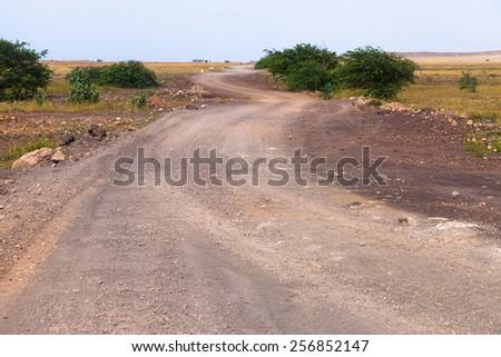 Road Buracona in Sal, Cape Verde - Cabo Verde - stock photo