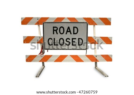 Road closed traffic sign on white background - stock photo