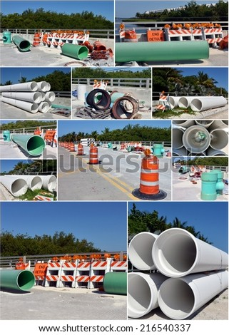 Road Construction Collage with PVC Pipe and Barricades - stock photo