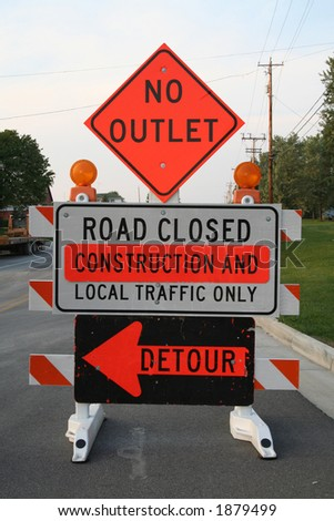 road construction sign - stock photo