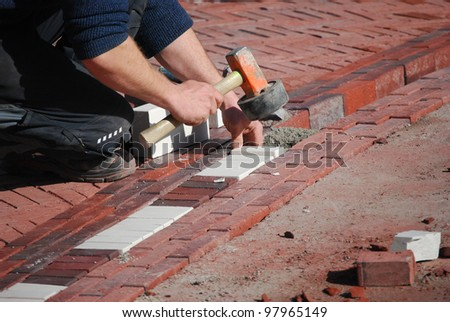 road construction works - stock photo