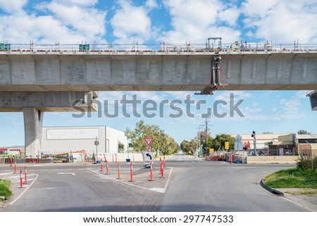 road currently under construction with view place of  join - stock photo