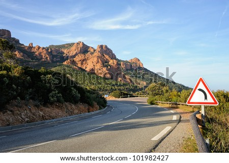 Road Curve in French riviera, France - stock photo