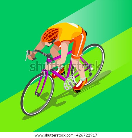Road Cycling Cyclist Bicyclist Athletes 2016 Summer Games Brasil.3D Isometric Athlete.Sporting Championship International Competition.Brazil Sport Infographic Road Cycling Race olympics illustration - stock photo