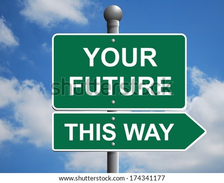 Road directional sign pointing to the future - stock photo