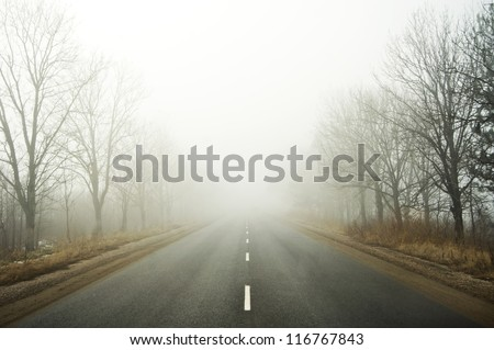 Road going in to the fog - stock photo