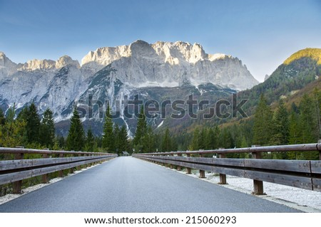 road in Alpine mountains of Italy, Julian Alps - stock photo