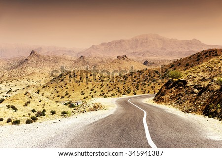 Road in Anti Atlas Mountains, South Morocco, Africa - stock photo