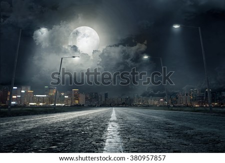 road in city at night - stock photo