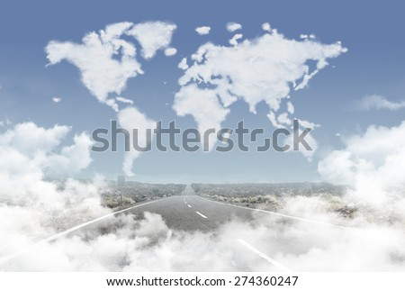Road in clouds leading to clouds world map - stock photo