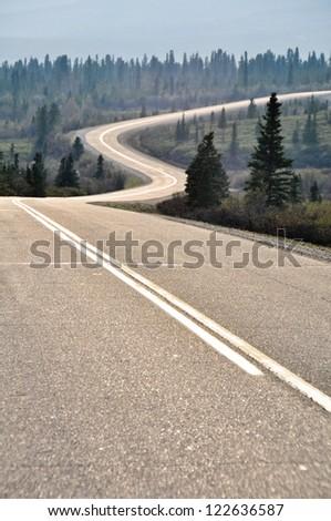 Road in Denali national park, Alaska - stock photo