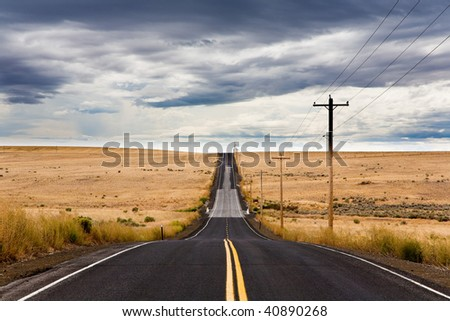 Road in east Washington State - stock photo