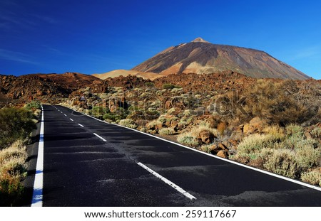 Road in El Teide National Park, Tenerife, Canary Islands, Spain - stock photo