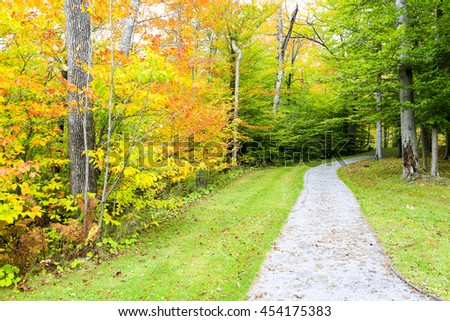 Road in fall, Stowe. Autumn landscape. Vermont, USA - stock photo